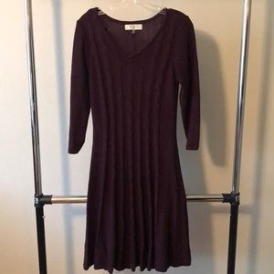 Purple cable knit sweater dress